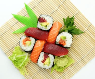 Japanese sushi on a bamboo mat