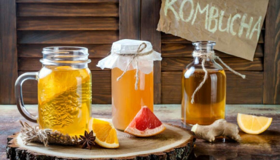 Home made kombucha in glass jars