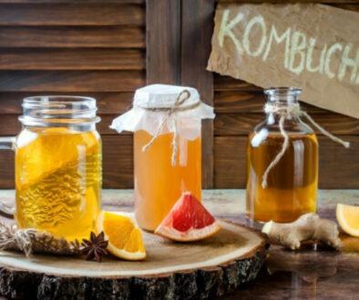 Home made kombucha in glass jars