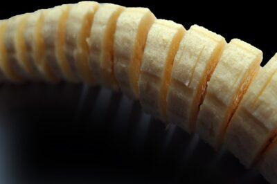 A banana sliced into tiny pieces.