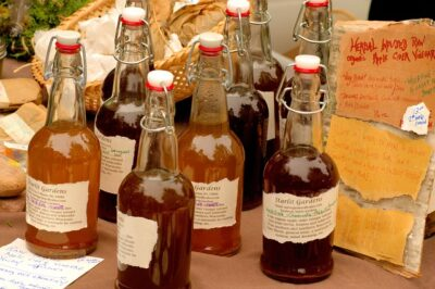 Organic apple cider vinegar in bottles